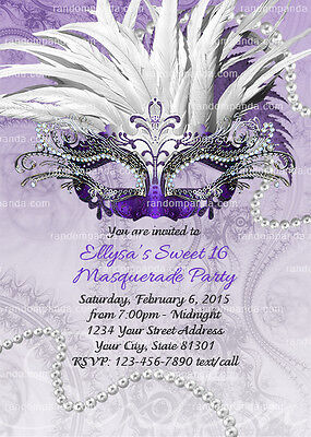 Masquerade Ball Invitation, Sweet 16 Party, Purple, Quinceañera