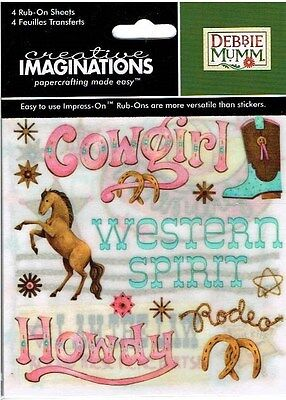 FC - Creative Imaginations - Cowgirl Scrapbooking Rub Ons - 4 sheets