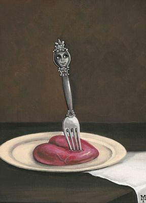 PRINT OF PAINTING RYTA HEART ACEO HALLOWEEN GOTHIC VALENTINES DAY WICCAN CRAFT