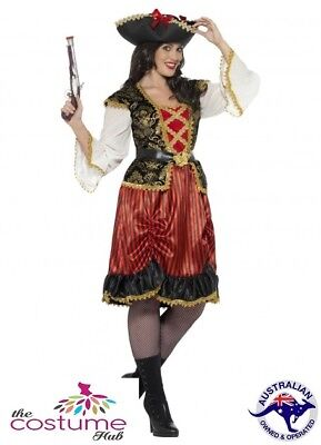 Adult Womens plus size Pirate Lady Costume Buccaneer Captain Fancy Dress