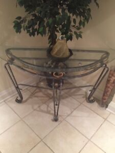 Glass and Cast Iron Table Set (3 tables)