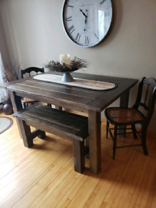 Farm house table and benches, returned because of cracks.