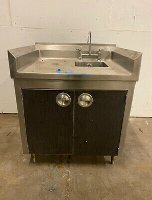 Stainless Cafeteria Catering Prep Station With Sink Storage