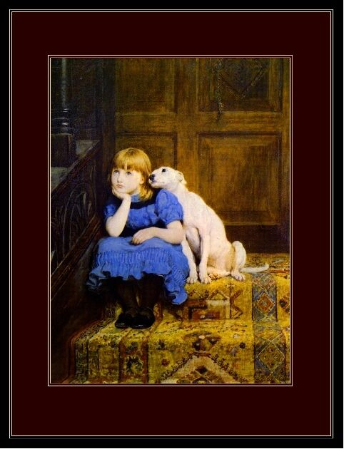 English Bull Terrier Puppy Dog Dogs Little Girl Art Print Vintage Poster Picture