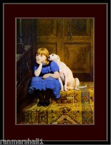 English Bull Terrier Dog  Little Girl Art Print Picture