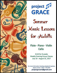 PROJECT GRACE has Summer Music Lessons for Adults