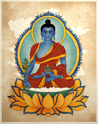 Medicine Buddha Art Asian Wall Decor