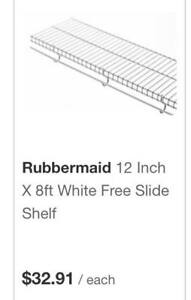 "NEW Rubbermaid 12"" White Free Slide Shelf -2 sections & hardware"