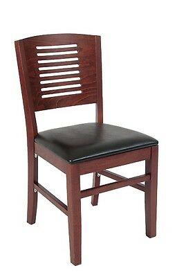 Lot Of 20 Mahogany Finish Decorative Back Wooden Restaurant Chair Vinyl Seat