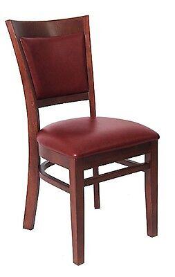 Lot Of 20 Mahogany Finish Vinyl Back Wooden Restaurant Chair Vinyl Seat