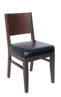 Lot Of 20 Walnut Finish Solid Back Wooden Restaurant Chair Black Vinyl Seat
