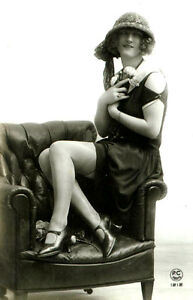 ANTIQUE-vintage-RISQUE-PHOTO-classy-woman-in-dress-heels-5-X-7-inch-reprint-CA1