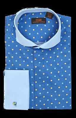 New Steven Land Men's Blue Polka Dot Pattern 100% Cotton Dress Shirt Style DW621 Cotton Dotted Pattern Dress Shirt