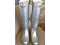 Ladies Silver Hunter Wellies Wellington Boots Size 4 RRP £95