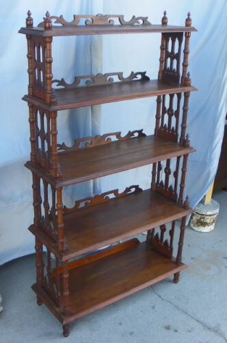 Antique Victorian Open style Walnut Etagere Shelves