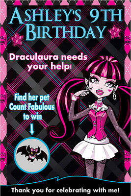 Set of 8 Personlized Monster High Birthday Party Scratch Off Game Cards/Favors - Monster High Birthday Party Games