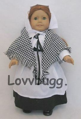 "Lovvbugg Black Pilgrim Dress Set for 18"" American Girl Doll Clothes Costume"