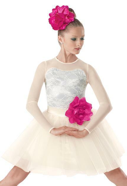 Dance Costume Medium/Large Adult Ivory Pink Ballet Lyrical DUET Weissman