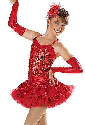 NEW 'All that Jazz' Latin Red Dance Tap Jazz Skating Competition Costume - Latin Jazz Dance Kostüm