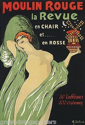 WOMAN MOULIN ROUGE SHOW GIRL THEATER CABARET FRENCH VINTAGE POSTER REPRO 20