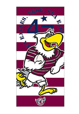 Manly Sea Eagles Mascot NRL Printed 70cm x 140cm Velour Beach Towel New