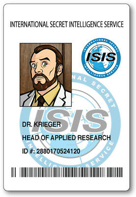 DR. KRIEGER FROM ARCHER ID NAME BADGE TAG PROP HALLOWEEN SAFETY PIN - Dr Halloween Names