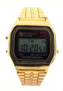 New DIGITAL ELECTRONIC WATCH Stainless Steel Metal RETRO VINTAGE 80s 70s GOLD