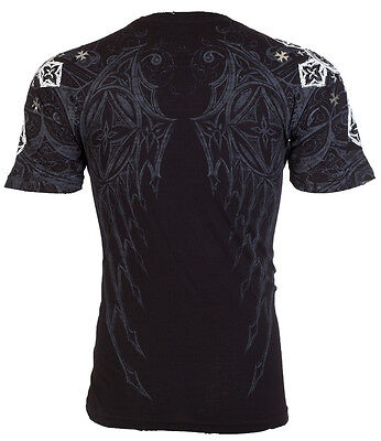 ARCHAIC by AFFLICTION Men T-Shirt WORLD HERO Wings BLACK Tattoo Biker UFC $40