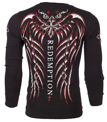 ARCHAIC by AFFLICTION Mens LONG SLEEVE THERMAL Shirt SPINE WINGS Biker UFC $58 ()