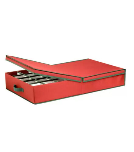 Honey Can Do Ornament Storage Box with Dividers Red