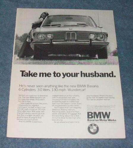 "1971 BMW Bavaria Vintage Ad ""Take Me To Your Husband"""