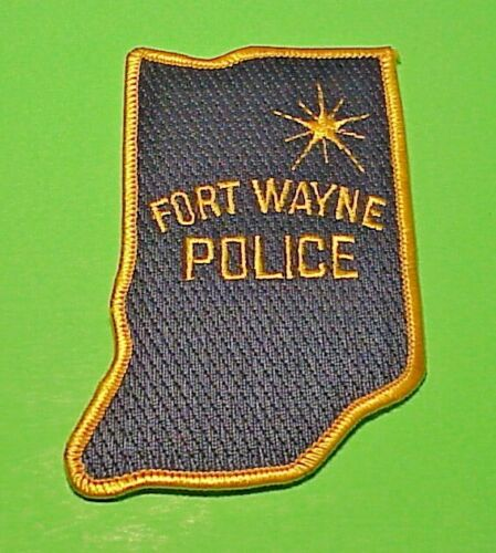 "FORT WAYNE INDIANA  IN ( STATE SHAPE )  4 1/4""  POLICE PATCH  FREE SHIPPING!!!"