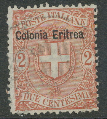 "2154 ITALIAN ERITREA 1899 Coat of Arms Italy 2 C overprint ""Colonia Eritrea"" VFU"