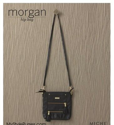 NEW Miche MORGAN Hip Bag Black Faux Leather Shoulder Messenger Cross Body Purse