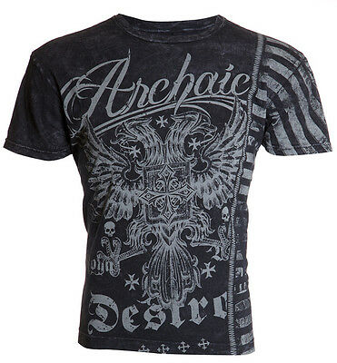 Archaic AFFLICTION Mens T-Shirt DOUBLE TIME Eagle Tattoo Biker MMA UFC M-4XL $40 (40 Time T-shirt)