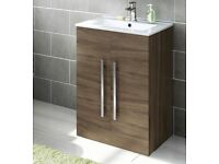 BRAND NEW! Modern Bathroom Walnut Basin Vanity Cabinet – Floor Standing – RRP £160