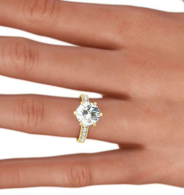 Round Diamond Ring 3.5 Ct 18k Yellow Gold Exclusive Appraised Womens Colorless