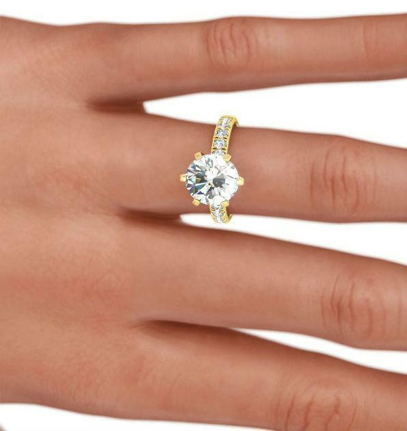 4 Ct Diamond Round Brilliant Ring 6 Prongs Estate 14 Kt Yellow Gold Size 7 8 9