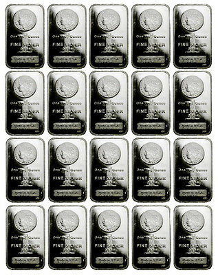 Lot of 20 - 1 Troy Oz .999 Fine Silver Bar Morgan Dollar Design Bars SKU33863