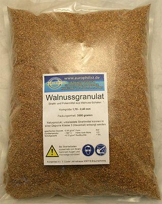 WALNUSSGRANULAT zum Reinigen und Polieren 3000g, GP 4,33€ 1kg, Nagelneu!
