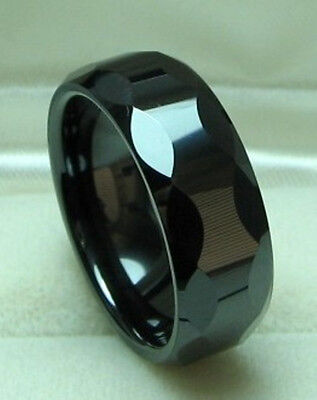 Faceted Black Ceramic Ring - MEN 8mm Faceted Black CERAMIC WEDDING BAND ring size 9.5