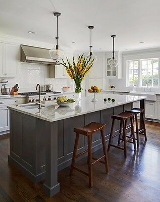 **7 Ft Grey Kitchen Island with White Quartz Counter Top. Custom Made/Color**