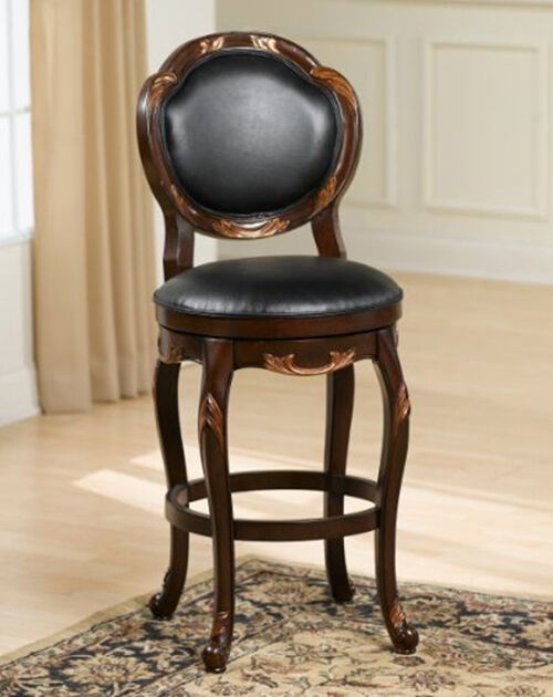 The Hillsdale Furniture bar stool is very ornate It features intricately carved wood and copper metal work This is one of the most decorative wooden
