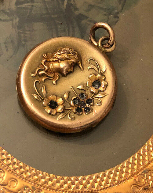 Antique Victorian Engraved GF Lady Flowers Paste Locket Pendant
