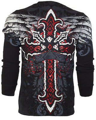 Flag Thermal Shirt - ARCHAIC by AFFLICTION Men LONG SLEEVE THERMAL Shirt RED FLAG Cross Biker UFC $58