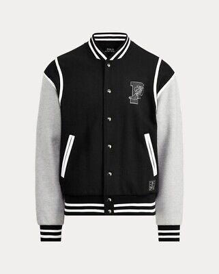 NWT POLO RALPH LAUREN Men's P Wing Letterman's Baseball Jacket Black Gray