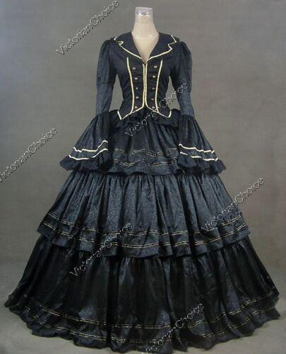 Black Brocade Civil War Victorian Dress Gown Witch Halloween Costume 188