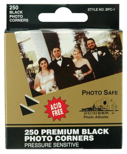 Pioneer Photo Corners Black Self-Adhesive 250/box