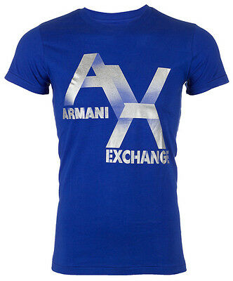 Armani Exchange AX LOGO Men Designer T-SHIRT Premium ROYAL BLUE Slim Fit $45 NWT