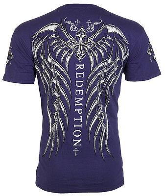 Archaic AFFLICTION Mens T-Shirt SPINE WINGS Tattoo NAVY Biker Gym MMA UFC $40